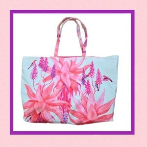 👜 NWOT Pink Floral Canvas Tote
